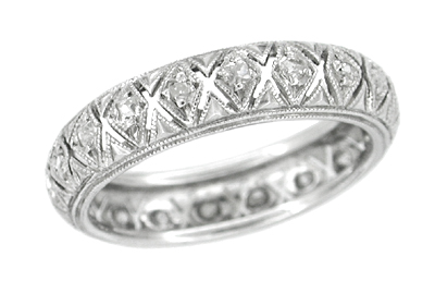 Yantic Art Deco Diamonds Filigree Platinum Vintage Eternity Wedding Ring