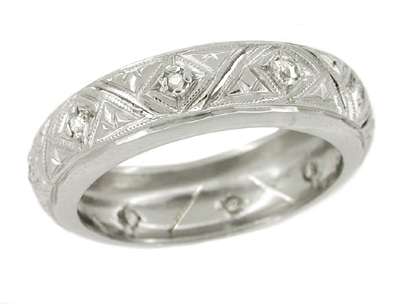 Foxon Deco Rose Cut Diamond Estate Platinum Wedding Band - Size 5