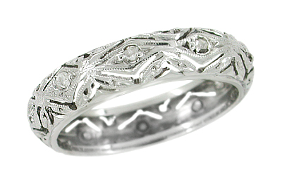 Antique Ballouville Diamond Wedding Band in Platinum - Art Deco - Size 5