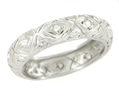 Pawcatuck Estate Art Deco Rose Cut Diamond Platinum Wedding Ring - Size 5