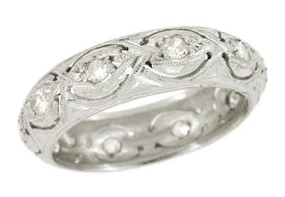 Orcuttville Art Deco Platinum and Single Cut Diamond Wedding Band - Size 6.5