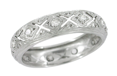 Straitsville Antique Platinum Art Deco Diamond Wedding Ring - Size 6.25