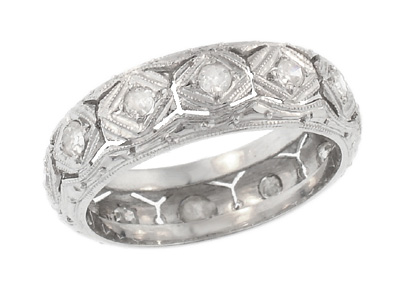 Art Deco Jordan Filigree Antique Diamond Wedding Band in Platinum - Size 6 1/4