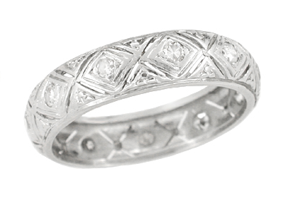 Scantic Art Deco Diamond Estate Platinum Wedding Band - Size 6