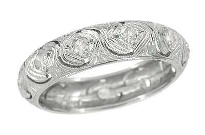 Art Deco Oronoke Antique Diamond Wedding Band in Platinum - Size 6