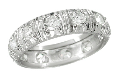 Art Deco Huntsville Diamond Antique Wedding Band in Platinum - Size 6