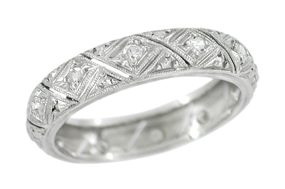 Art Deco Vintage Platinum Thompson Diamond Wedding Band - Size 7 1/2