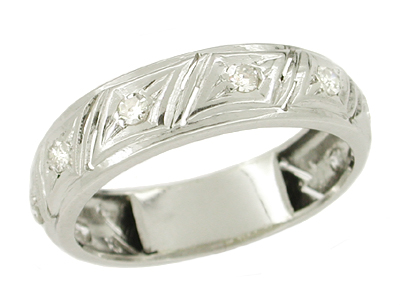 Deco Parallelogram Vintage 1920s Rose Cut Diamond Platinum Wedding Ring