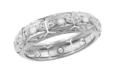 Art Deco Windemere Antique Diamond Platinum Wedding Band