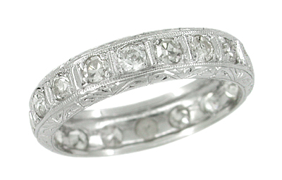 Woodville Estate Engraved Diamond Wedding Ring in Platinum