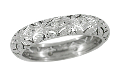 Laysville Vintage Art Deco Diamond Wedding Ring in Platinum - Size 8.5