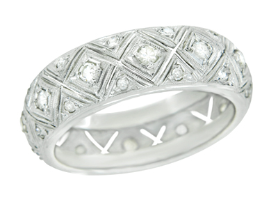 Art Deco Hopewell Vintage Platinum Filigree Diamond Wedding Band - Size 9
