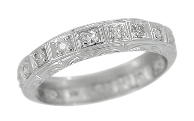 Art Deco Niantic Enrgaved Platinum Straightline Vintage Diamond Wedding Band - Size 9