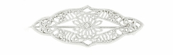 Art Deco Diamond Set Filigree Bar Brooch in 14 Karat White Gold