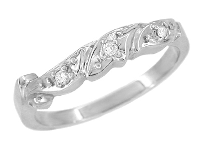 Art Deco Diamond Filigree Scrolls Wedding Ring in Platinum