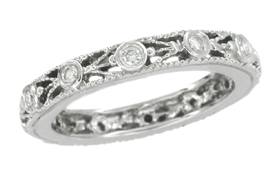 Art Deco Diamond Set Filigree Wedding Ring in 14 Karat White Gold - Size 6 1/2