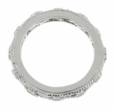 Art Deco Diamond Set Filigree Wedding Ring in 14 Karat White Gold - Size 6 1/2 - Item R629 - Image 1