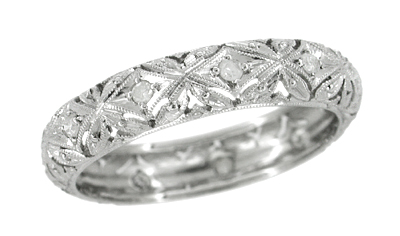Art Deco Diamond Set Flowers and Leaves Antique Wedding Band in Platinum - Size 10