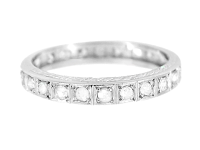 Art Deco Diamond Straightline Antique Engraved Diamond Wedding Band in Platinum - Size 9