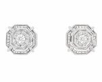 Art Deco Diamond Stud Earrings in 18 Karat White Gold