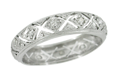 Art Deco Diamonds and Kisses Antique Wedding Band in Platinum - Size 6