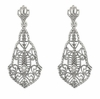 Art Deco Diamonds and Scrolls Filigree Dangling Earrings in Sterling Silver