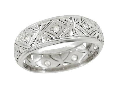 Antique Guilford Filigree Art Deco Diamond Wedding Band in Platinum - Size 5