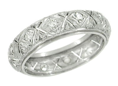Art Deco Diamonds Antique Wedding Band in Platinum - Size 5 3/4