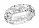 Antique Filigree Wide Diamond Wedding Ring in Platinum - Art Deco Ardsley Honeycomb - Size 6 1/2