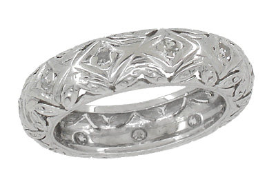 Monroe Filigree Vintage Art Deco Diamond Wedding Band in Platinum - Size 4 1/2