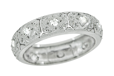 Art Deco Diamonds Filigree Engraved Antique Wedding Band in Platinum - Size 6