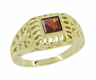 Art Deco Egyptian Motif Filigree Garnet Ring in 14 Karat Yellow Gold - Item R1152 - Image 1