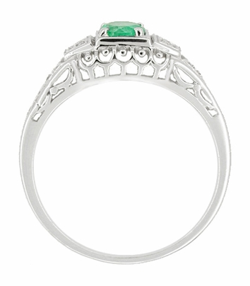 Art Deco Emerald and Diamond Filigree Engagement Ring in 14 Karat White Gold | 1920s Classic Low Profile Antique Design - Item R312 - Image 1