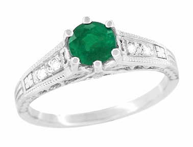 Art Deco Emerald and Diamond Filigree Engagement Ring in 14 Karat White Gold - Item R206 - Image 1