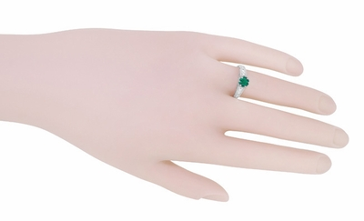 Art Deco Emerald and Diamond Filigree Engagement Ring in 14 Karat White Gold - Item R206 - Image 5