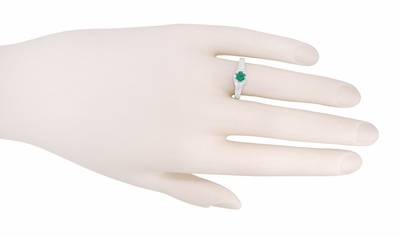 Art Deco Emerald and Diamond Filigree Engraved Engagement Ring in 14 Karat White Gold - Item R288 - Image 2