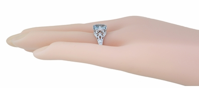 Art Deco Emerald Cut Aquamarine Filigree Engagement Ring in 18 Karat White Gold - Item R617W - Image 1