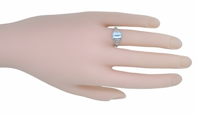 Art Deco Emerald Cut Aquamarine Filigree Engagement Ring in 18 Karat White Gold - Item R617W - Image 4
