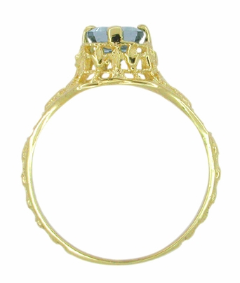 Art Deco Emerald Cut Aquamarine Filigree Engagement Ring in 18 Karat Yellow Gold - Item R617 - Image 3