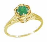 Art Deco Emerald Filigree Engagement Ring in 14 Karat Yellow Gold