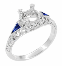Art Deco 3/4 Carat Filigree Engagement Ring Setting in Platinum with Side Sapphires