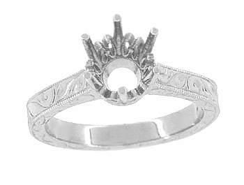 Art Deco 7mm Round Stone Crown Engagement Ring Setting in 18K White Gold (1.25 - 1.50 Carat) Filigree Scrolls Engraved - Item R199W125 - Image 2