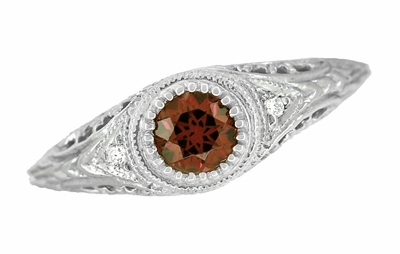 Art Deco Engraved Almandite Garnet and Diamond Filigree Engagement Ring in 14 Karat White Gold - Item R138WAG - Image 1