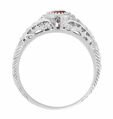 Art Deco Engraved Almandite Garnet and Diamond Filigree Engagement Ring in 14 Karat White Gold - Item R138WAG - Image 3