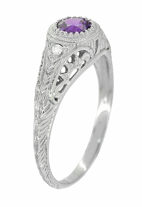 Art Deco Engraved Amethyst and Diamond Filigree Engagement Ring in 14 Karat White Gold - Item R138AM - Image 1