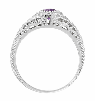 Art Deco Engraved Amethyst and Diamond Filigree Engagement Ring in 14 Karat White Gold - Item R138AM - Image 2