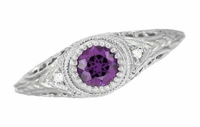 Art Deco Engraved Amethyst and Diamond Filigree Engagement Ring in 14 Karat White Gold - Item R138AM - Image 3