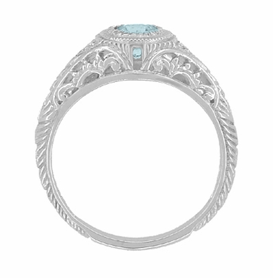 Art Deco Engraved Aquamarine and Diamond Filigree Engagement Ring in 14 Karat White Gold - Item R138A - Image 2