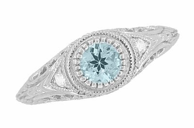 Art Deco Engraved Aquamarine and Diamond Filigree Engagement Ring in Platinum - Item R138PA - Image 1