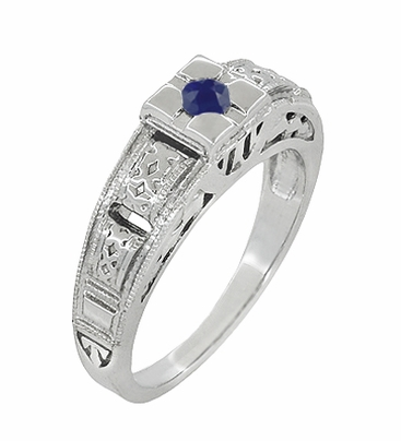 Art Deco Engraved Blue Sapphire Band Ring in Sterling Silver - Item SSR160S - Image 1